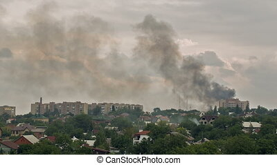 War in the city - result of the military conflict in Donetsk