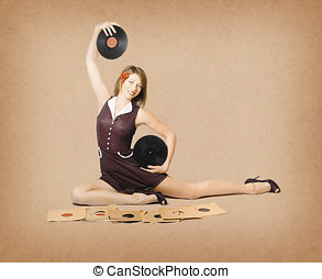 Glamorous pinup girl holding vinyl LP records - Old brown...