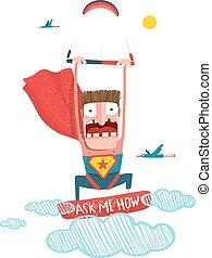 Kitesurfing superhero trick cartoon. - Scared kiteboarding...