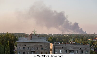 City in Flames - result of the military conflict in Donetsk