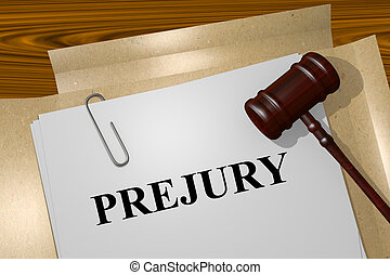 Perjury concept - Render illustration of Perjury title On...
