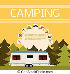 Camping in the forest banner - Vector image of a banner of...