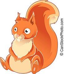 Cartoon orange Squirrel - Vector image of a cartoon orange...