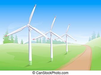 Wind power industry Windmill energy generator Illustration...