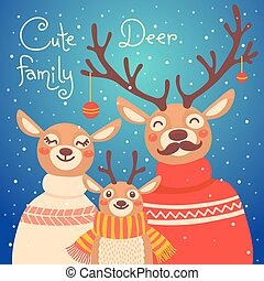 Christmas reindeer family. Cute card with deer is dressed in...