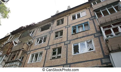 Bombed Out Building - consequences of the war in the Donbass