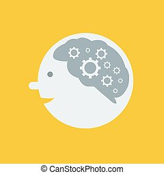 brain and gears on yellow background, vector