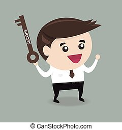businessman is holding a key of success, flat design