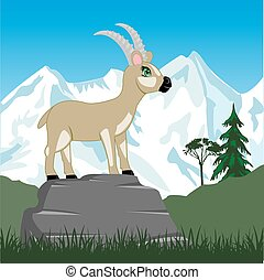 Wild sawhorse in mountain - Vector illustration wild...