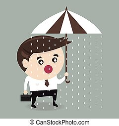 Unlucky businessman with umbrella