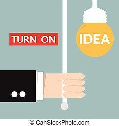 Hand of businessman turn on idea