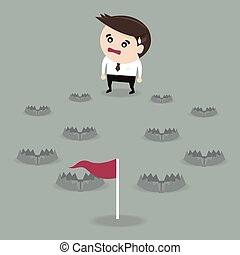 Path to the success filled with trap, flat design, vector, eps10