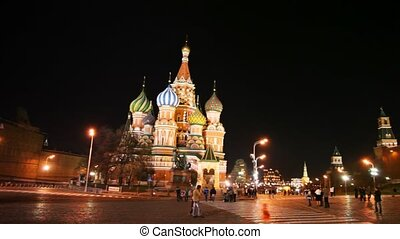 Dome of Saint Basils Cathedral and hour tower in Red Square...
