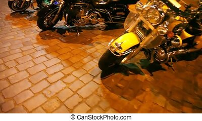 Motorcycles on square
