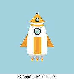 Rocket Space Ship, flat design