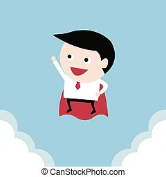 Businessman flying, vector