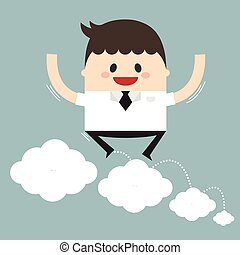 Vector illustration of businessman jumping on clouds. Flat design.