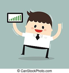 Businessman holding a tablet with growing graph, flat design, vector, stock concept