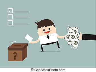 Businessman vote at ballot box. Vector illustration, buy...