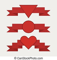 Red ribbon set, flat design, valentine ribbons