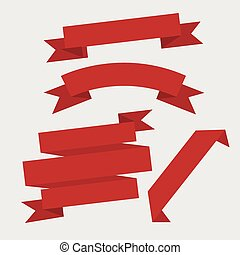 Red ribbon set, flat design