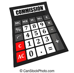 Commission calculator isolated on white background