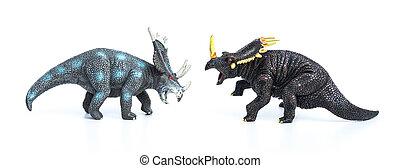 styracosaurus, y, Triceratops, juguetes, en, Un, blanco,...