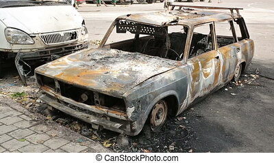 Burned Car in Donbass WAR - Burned car on the street