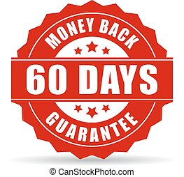 60 days money back guarantee icon isolated on white...