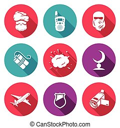 Threat to life Icons Set. Vector Illustration. - Isolated...