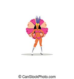 Brazilian girl wearing Samba Costume. Vector Illustration.