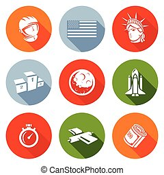 USA and moon Icons Set. Vector Illustration. - Isolated Flat...