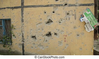 Holes from Shrapnel in the War