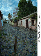Colonia del Sacramento old town cobblestone street, Uruguay