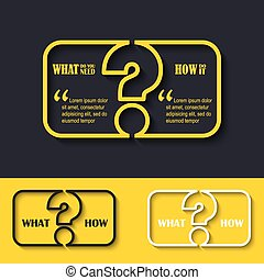 Question mark icon with paper frame for your text FAQ sign...