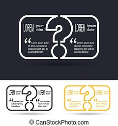 Creative question mark icon with paper frame for your text. FAQ sign. Help symbol. Vector illustration.