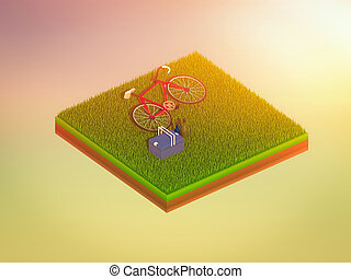 isometric green bicycle on green grass, abstract background,...