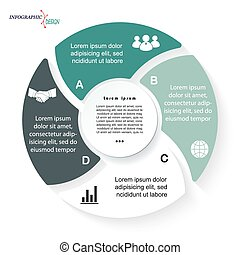 Circle Infographic for business project or presentation with four segments can be used for web design, workflow or graphic layout, diagram