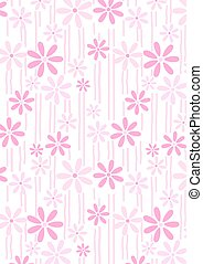 Flowers and stems pink abstract repeat pattern