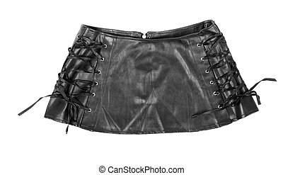 Black leather skirt - Black leather mini skirt isolated on...