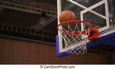 Ball in the Basket - successful throw in basketball basket