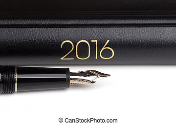 fountain pen and notebook 2016 over white