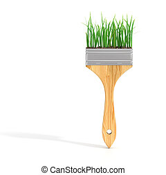 Brush with grass. Eco concept.