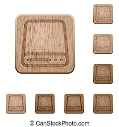 Hard disk drive wooden buttons - Set of carved wooden hard...