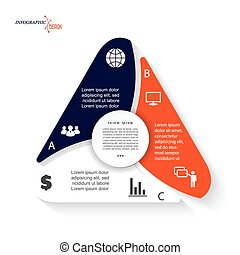 Triangle infographic with 3 options Vector template can be used for business presentation,  chart, web design, numbers options.