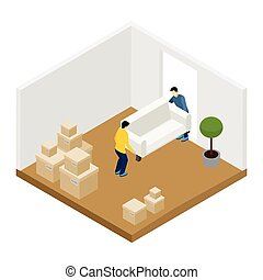 Moving In And Out Illustration - People moving in and out...