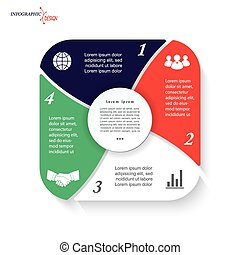 Infographic template for business project or presentation with 4 segments can be used for web design, workflow or graphic layout, diagram, education