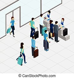 Airport Check In Line - Airport check in line with isometric...