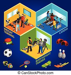 Sports Equipment Athletes Isometric 2x2 - Sports equipment...