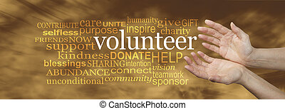 Volunteer Request Word Cloud - Wide banner with a woman's...